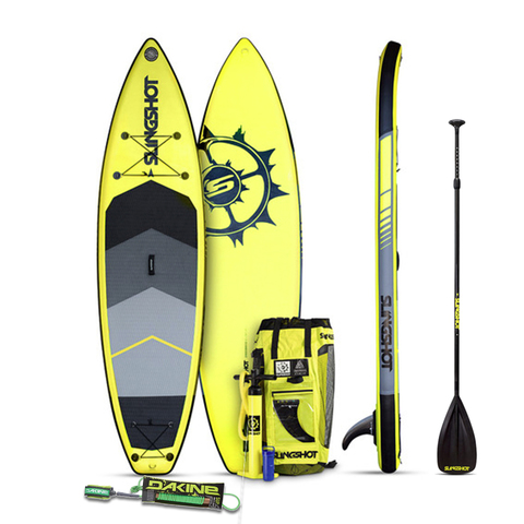 Save $125 with this rad Crossbreed Airtech V3 SUP Package from Slingshot. The Crossbreed Airtech V3 SUP Package will only be here for a limited time and features the 11' Crossbreed Paddle Board a Slingshot paddle a Dakine surf leash and more.With a wide waist tapered tail and a gently rockered nose the Slingshot Crossbreed inflatable paddleboard can handle everything from the beach to the lake with ease. This lightweight paddleboard is also user friendly and surprisingly durable so you'll be able to enjoy it for years to come.