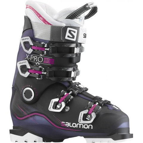The X Pro 80 Ski Boot from Salomon is a Women's Specific Ski Boot with a 3D Liner and Oversized pivot for an exceptional fit. The shell is constructed of Bi Material PU Shell and clamps down with 4 Micro Aluminum Buckles for excellent stability. X Pro 80 has a flex index of 80 and a last 100mm.