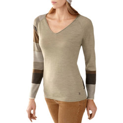 Smart Wool Scrolling Stripe V Neck - Women's