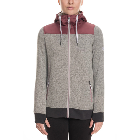 686 Flo Polar Zip Fleece Hoody - Women's Crushed Berry Sm