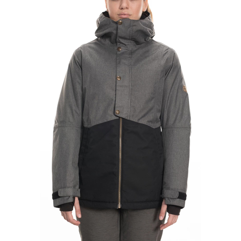 686 Rumor Insulated Jacket - Women's Grey Melange Colorblock Lg