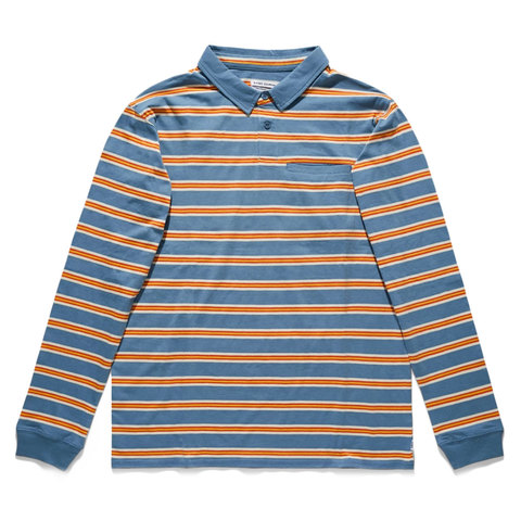 Banks Journal Drop Long Sleeve Polo Blue Stone Lg