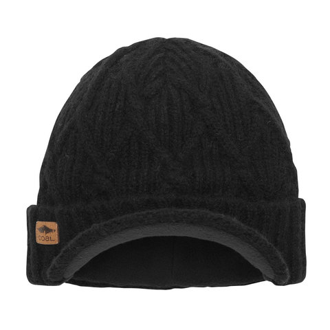 Coal The Yukon Cable Knit Wool Brim Beanie Black One Size