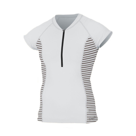 USOutDoor.com - O'Neill Front Zip Sun Shirt – Women's White Stripe Sm 46.95 USD