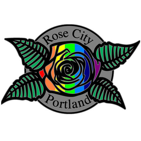 Portland Rainbow Rose Collector's Pin