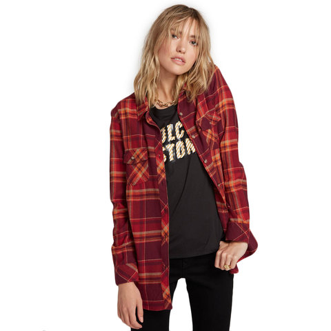 Volcom Getting Rad Plaid Long Sleeve Flannel - Women's