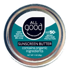 All Good SPF 50+ Water Reistant Zinc Sunscreen Butter, 1 oz