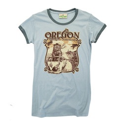 Little Bay Root Pacific Wonderland Bear Oregon Cap-Sleeve Ringer T-Shirt - Women's