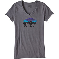Patagonia Fitz Roy Bison Cotton/Poly V-Neck T-Shirt - Women's